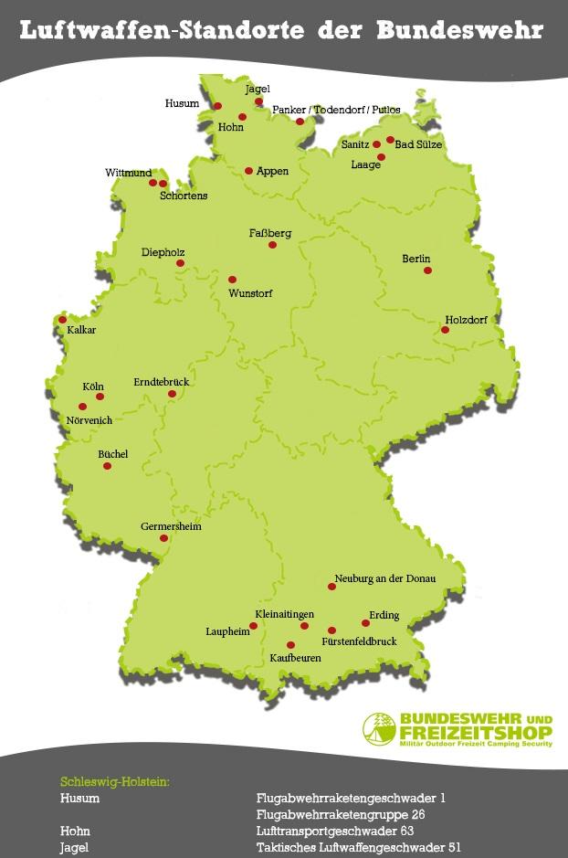 Die Standorte Der Luftwaffe Der Bundeswehr Bw Freizeitshop Camp