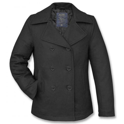 Navy Pea Coat Mantel - schwarz