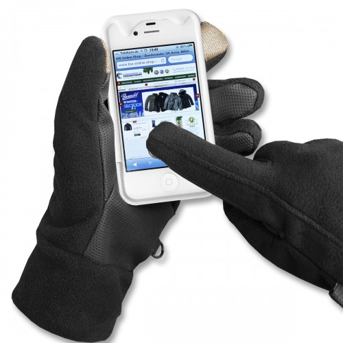 Fleece Handschuhe Touch Screen schwarz - schwarz