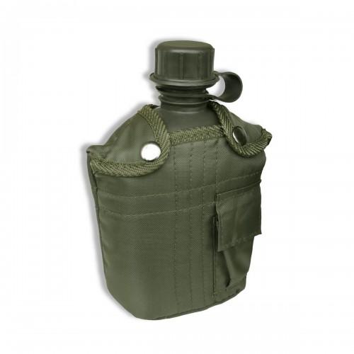 US Plastikfeldflasche mit Hülle - oliv