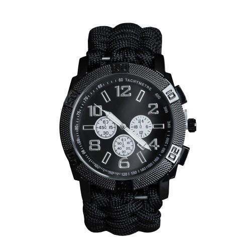Armbanduhr Paracord schwarz - schwarz