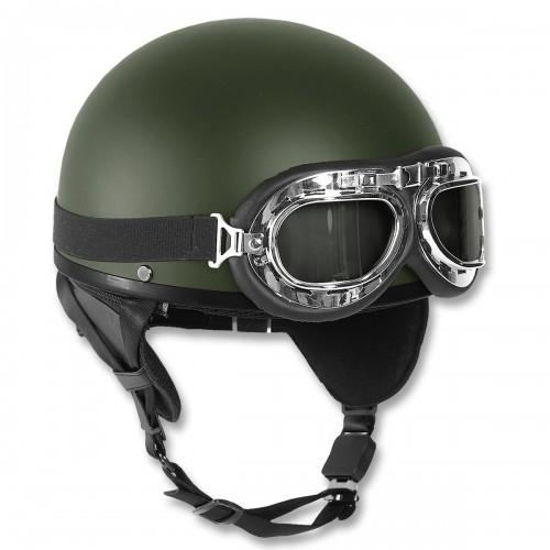Helm Halbschale mit Brille - oliv