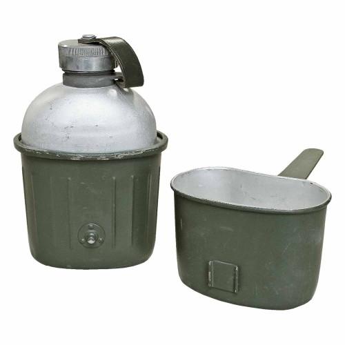 Bundeswehr Feldflasche Alu Original gebraucht - oliv