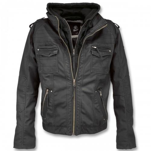 Brandit Black Rock Hooded Leather Jacke