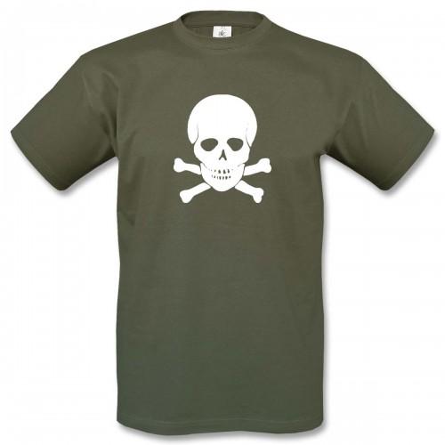 T-Shirt Motiv 3 - oliv/weiss