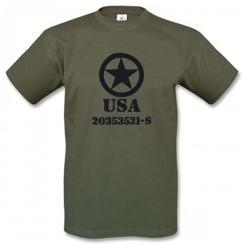 T-Shirt Motiv 5 - oliv/schwarz