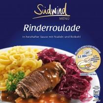 Fertiggericht Rinderroulade mit Nudeln und Rotkohl