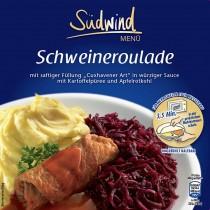 Fertiggericht Schweineroulade mit Kartoffelpüree und Rotkohl