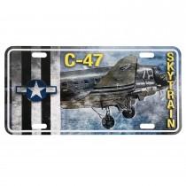 Nummernschild US Style mit Druck Metal C-47 Skytrain